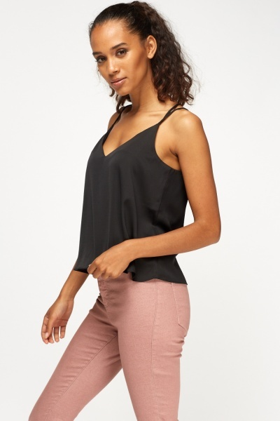 Frill Low Neck Strappy Top