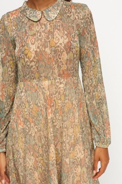 Gold Metallic Printed Shift Dress