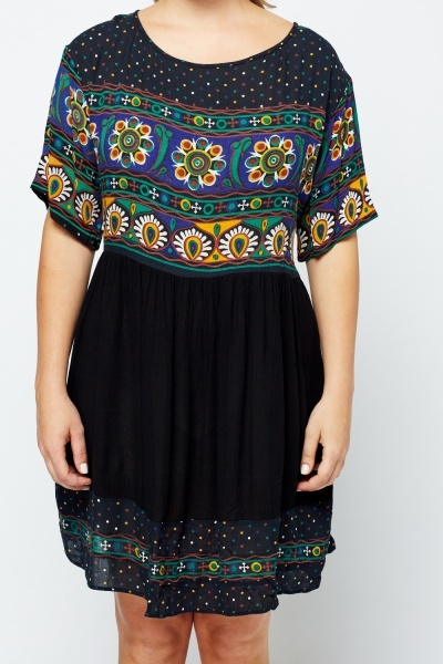 Mixed Print Shift Black Dress