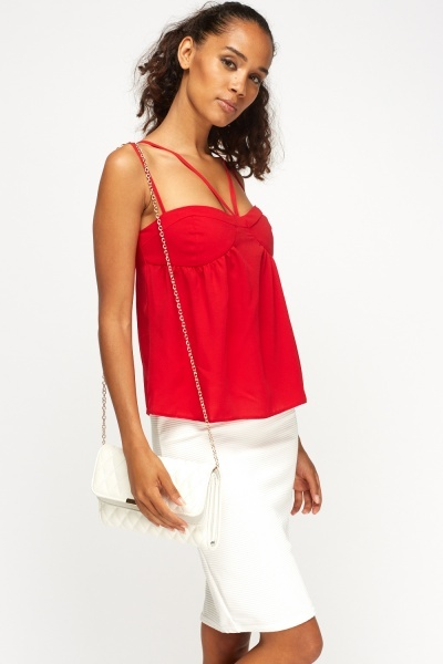 Red Sweetheart Frill Top