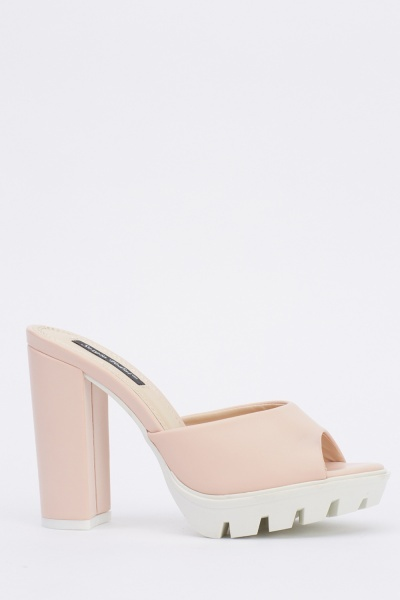 Block Heel Faux Leather Shoes