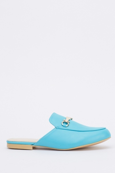 Faux Leather Slip On Sandals