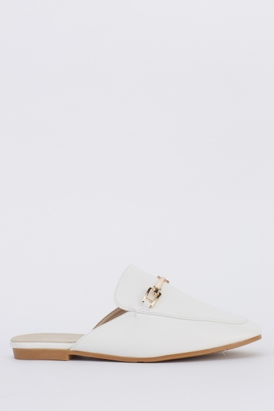 Metallic Detail Faux Leather Slip On Sandals