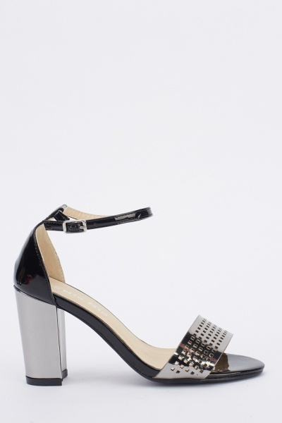 Metallic Laser Cut Block Heel Sandals
