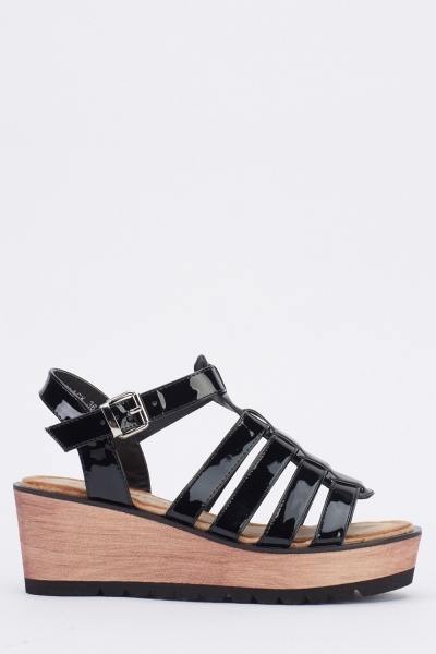 PU Black Strappy Platform Sandals