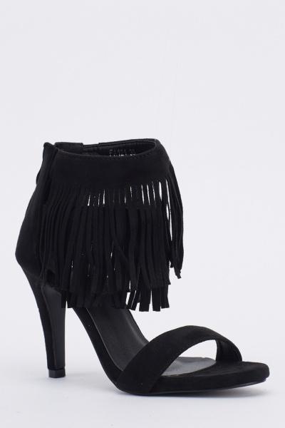 Tassel Ankle Heeled Sandals