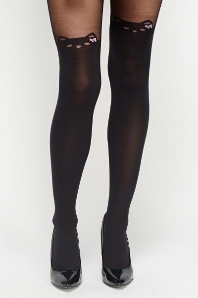 Black Cat Printed Tights