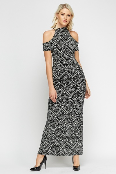 Mono Cold Shoulder Maxi Dress