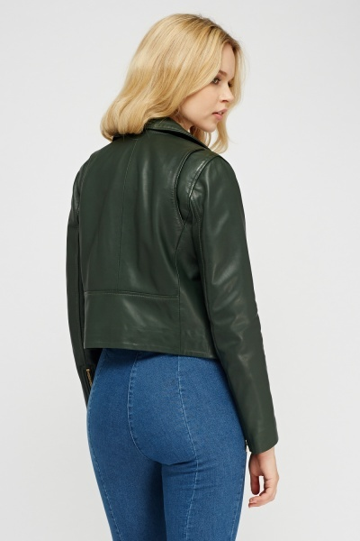 Muubaa Harrier Cropped Biker Leather Jacket