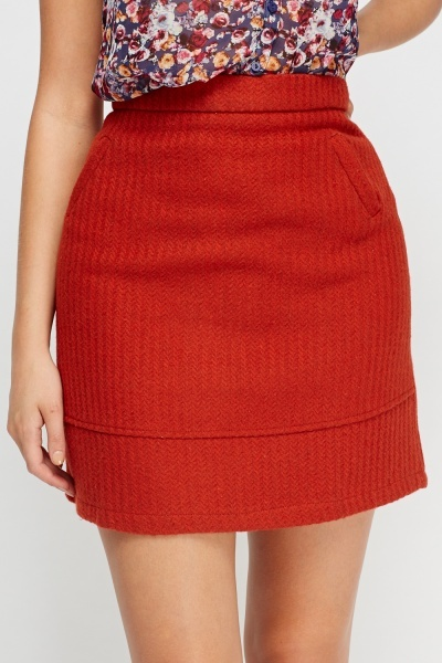 Rust Woven Mini Skirt
