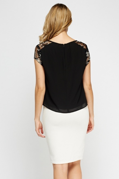 Insert Contrast Lace Sheer Top