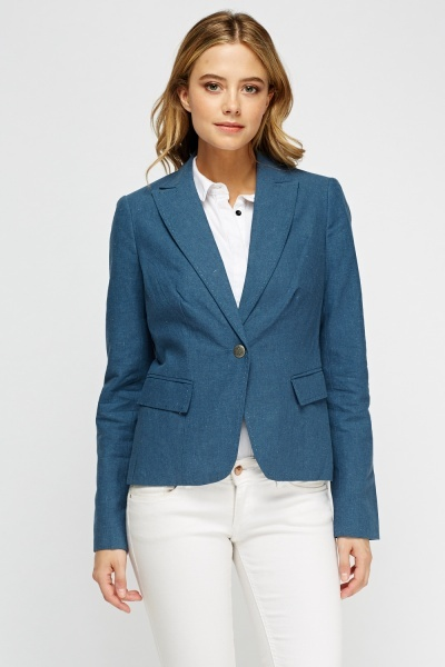 Middle Blue Lapel Front Blazer