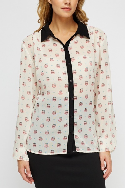 Owl Printed Sheer Blouse