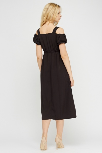Cold Shoulder Black Maxi Dress