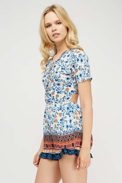 Lace Up Front Printed Playsuit