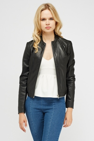 Muubaa Black Leather Biker Jacket