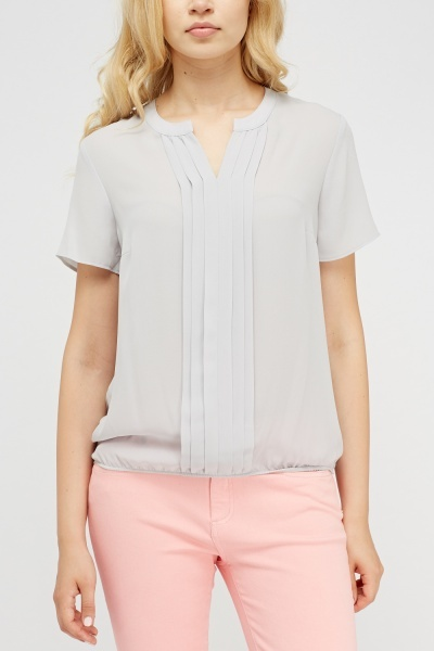 Pleated Panel Sheer Top