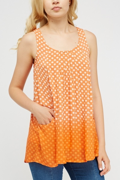 Polka Dot Orange Sleeveless Top