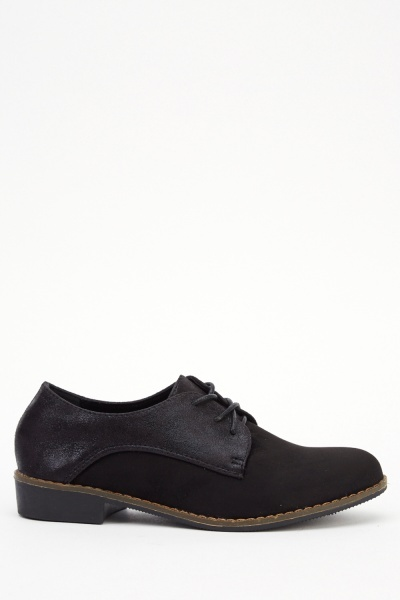 Contrast Lace Up Low Heel Shoes