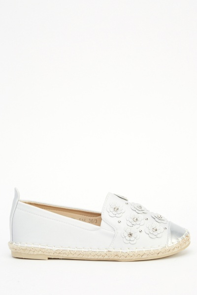 Diamonte Flower Espadrille Shoes