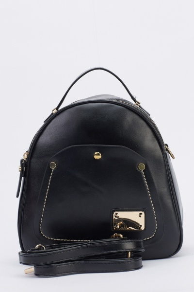 Image of Faux Leather Backpack
