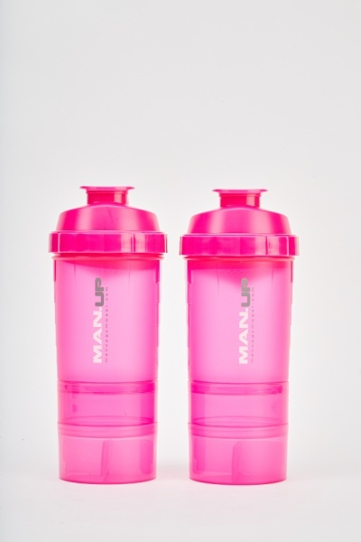 Pack Of 2 Pink Protein Shaker Bottles