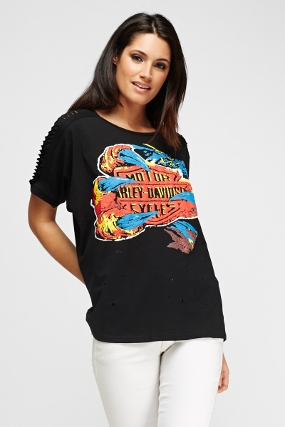 Graphic Distress Sleeve Top