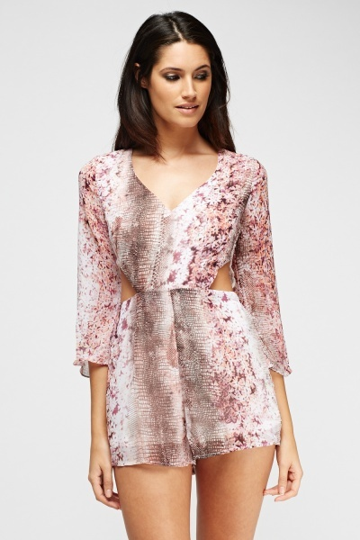 Mix Print Cut Out Playsuit