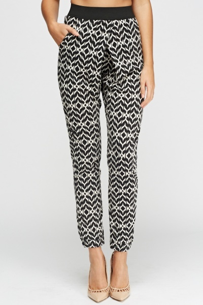 Mono Printed Casual Trousers