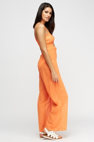Sheer Orange Jumpsuit