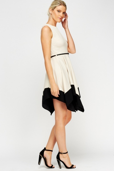 Contrast Asymmetric Belted Dress