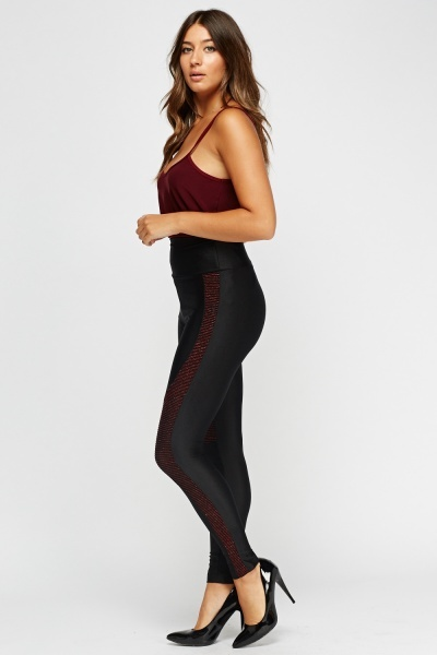 High Waist Glitter Insert Leggings