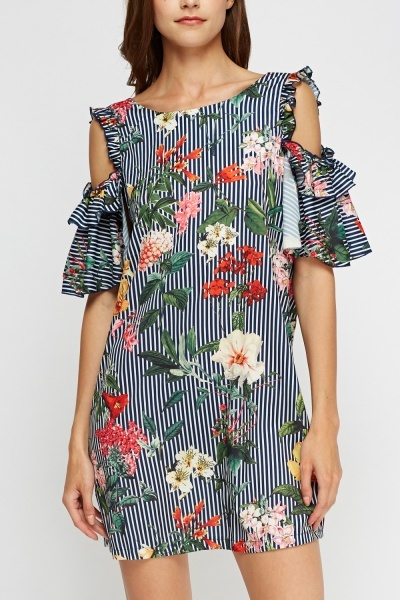Aikha Mixed Print Frilled Dress