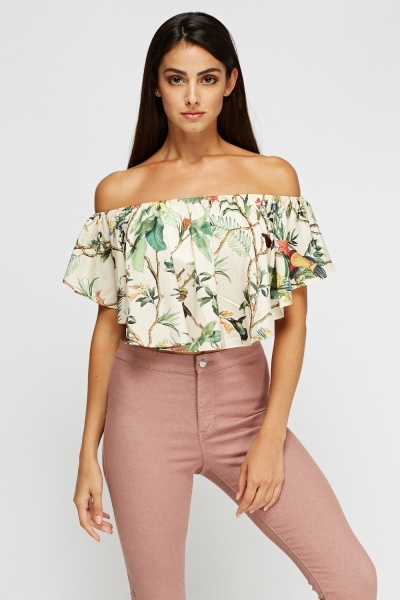 Aikha Off Shoulder Beige Crop Top