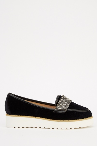 Encrusted Front Velveteen Platform Slip On Shoes