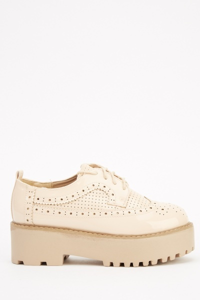 Laser Cut Platform Brogue Shoes