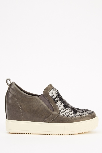Sequin Front Wedge Slip On