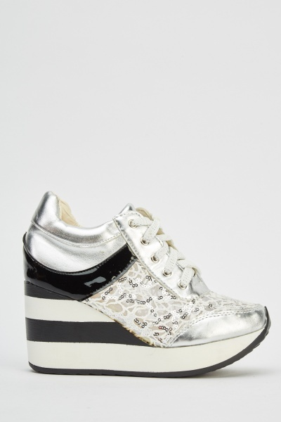 Sequin Mesh Insert Wedged Shoes