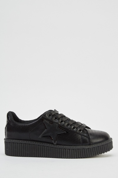 Star Patched Low Top Trainers
