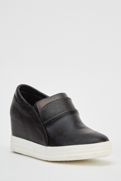 Wedge Faux Leather Slip Ons