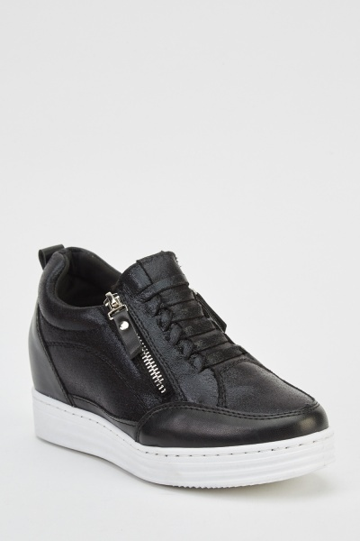 Wedged Black High Top Trainers