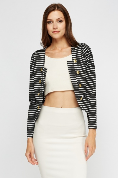 Button Detail Cropped Blazer