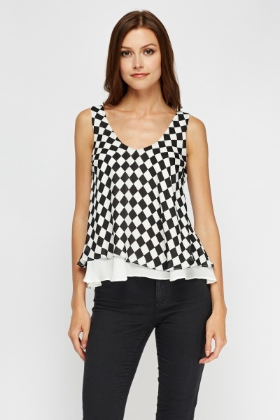 Checked Mesh Insert Sleeveless Top
