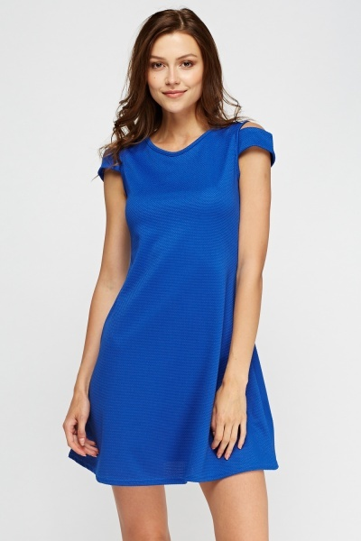 Cut Out Shoulder Textured Swing Dress
