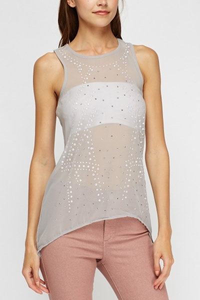Embellished Mesh Front Top