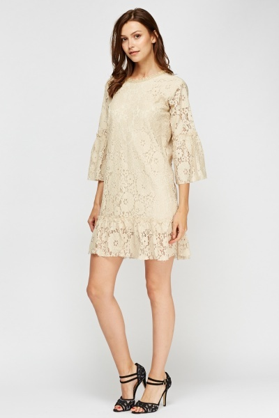 Flare Hem Lace Overlay Dress