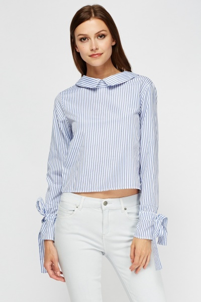 Flare Sleeve Pinstripe Top