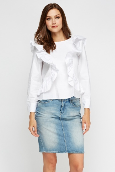 Frilled Front Long Sleeve Top