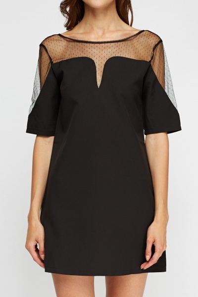 Mesh Insert Sweetheart Mini Dress