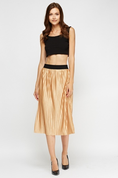 Metallic Pleated Midi Skirt
